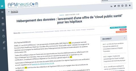 """APM – Hébergement des données : lancement d'une offre de """"cloud public santé"""""""