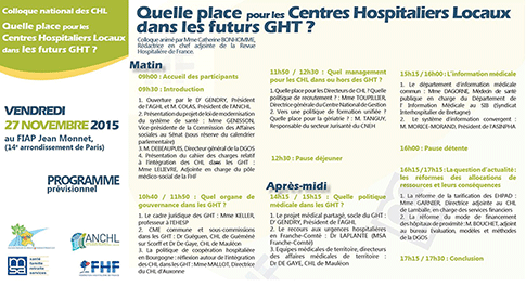 Colloque national des Centres Hospitaliers Locaux