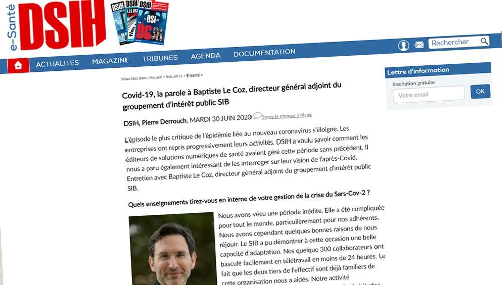 Covid-19, la parole à Baptiste Le Coz, directeur général adjoint du groupement d'intérêt public SIB